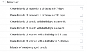 facebook audience target based on Close friends birthday