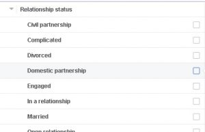 facebook audience target based on relationship status
