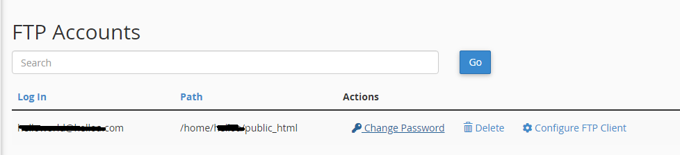 Created FTP acccount