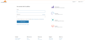 signup to Cloudflare