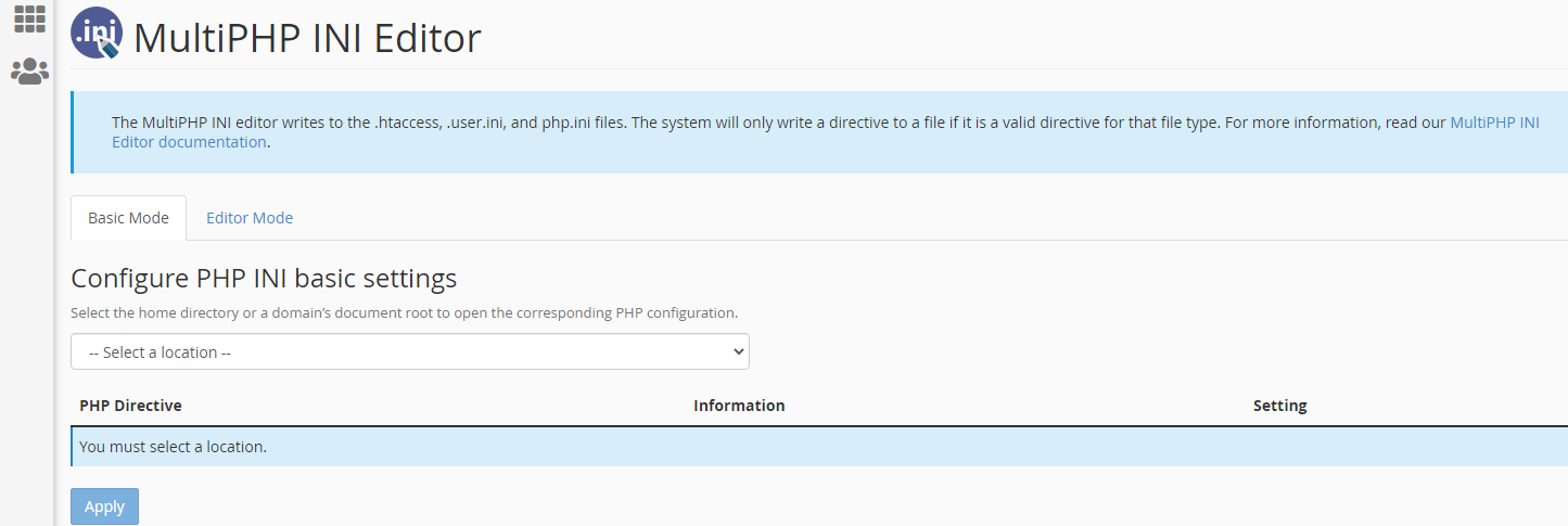 MultiPHP INI Editor Page