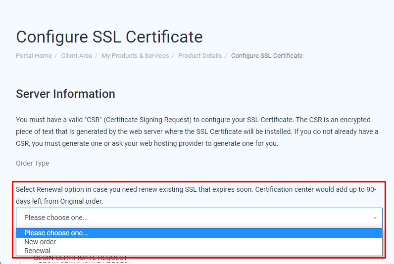 SSL Certificate configuration - Choose Order Type