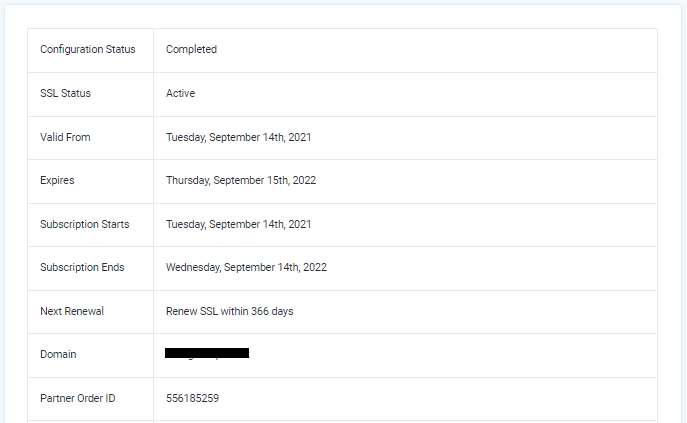 SSL Certificate configuration - Configuration Status