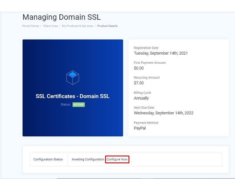 SSL Certificate configuration