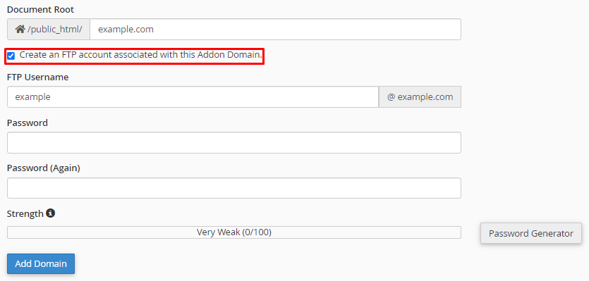 create ftp account for addon domain